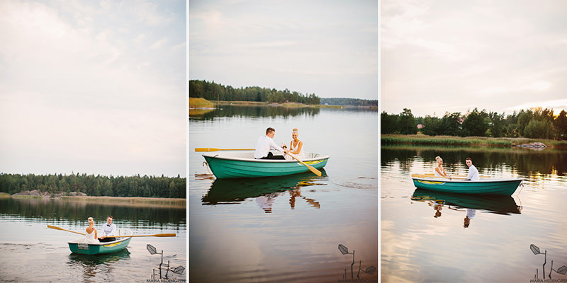 wedding couple in a boat