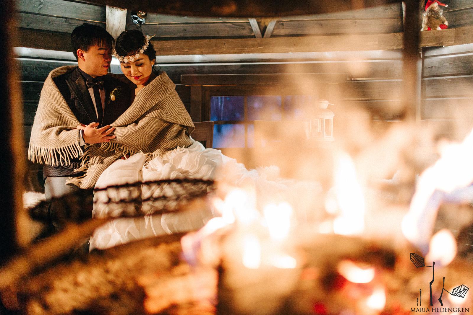winter bonfire wedding