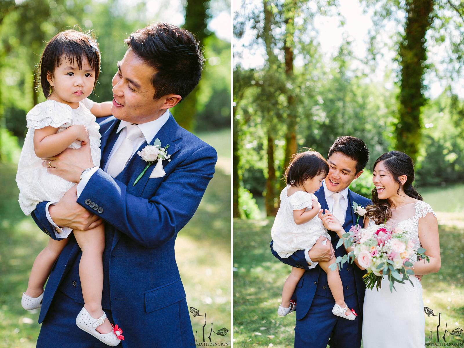 wedding couple and children