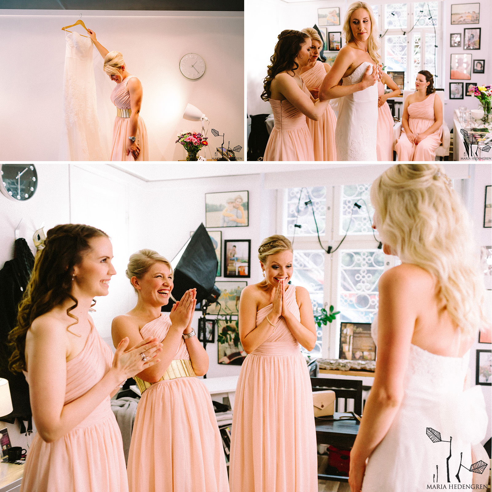 salmon bridesmaids dresses