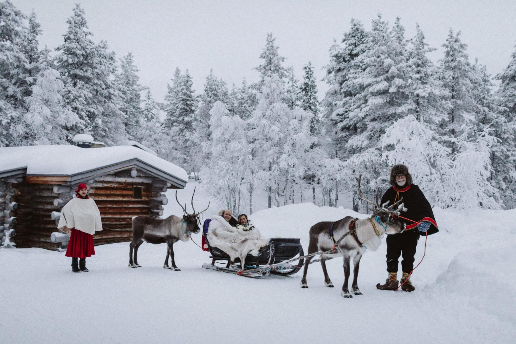 reindeer sleigh ride Lapland