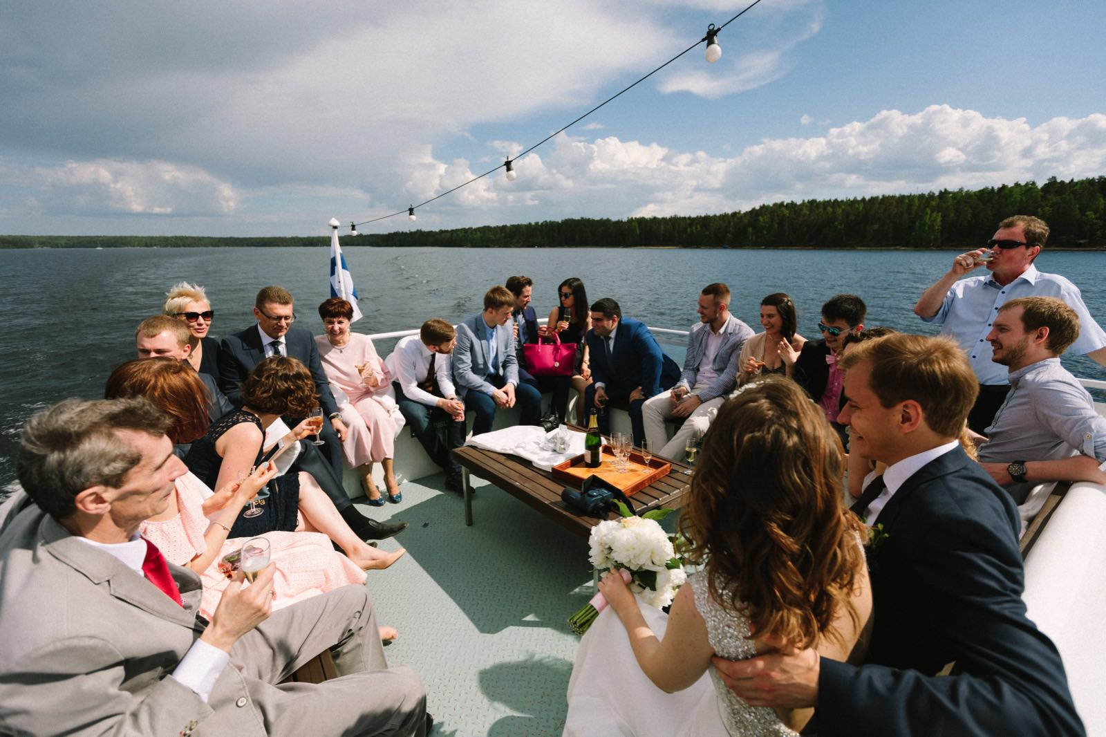 Saimaa lake wedding boat