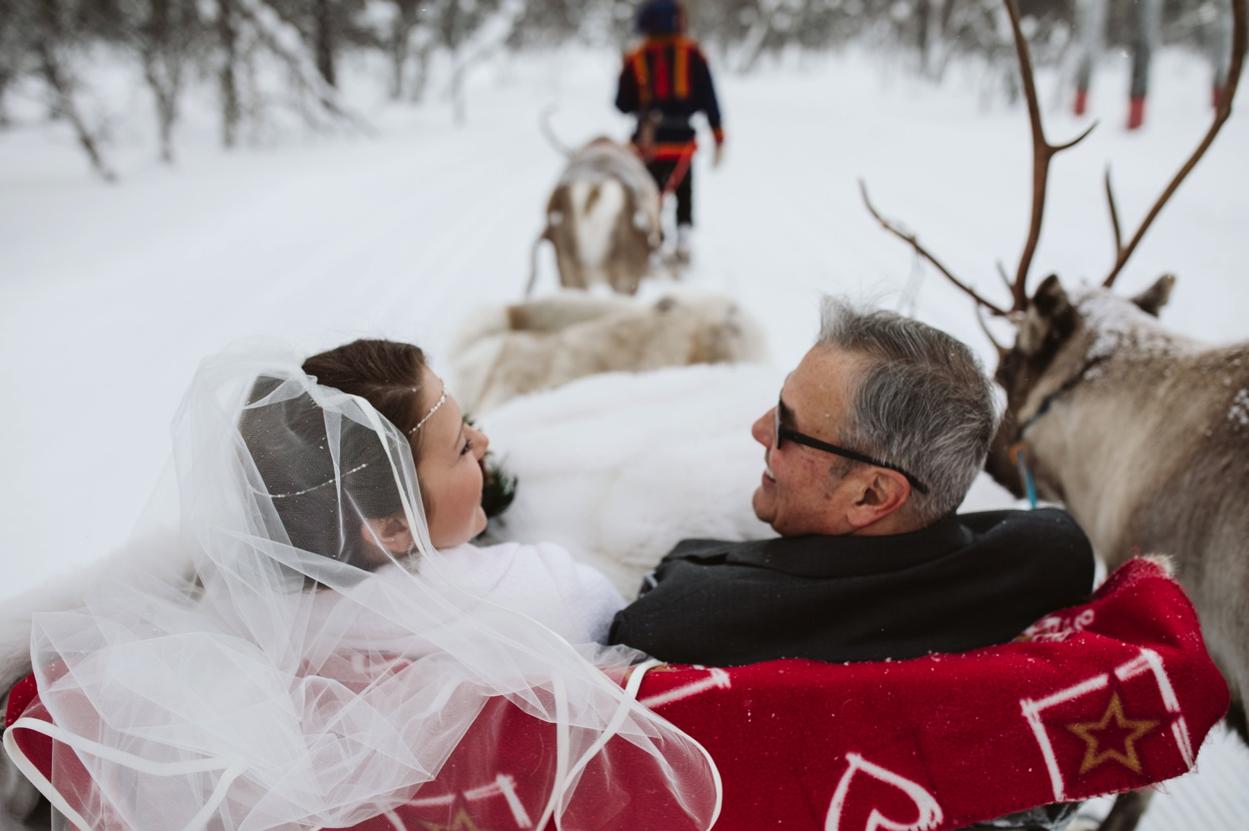 bride reindeer ride