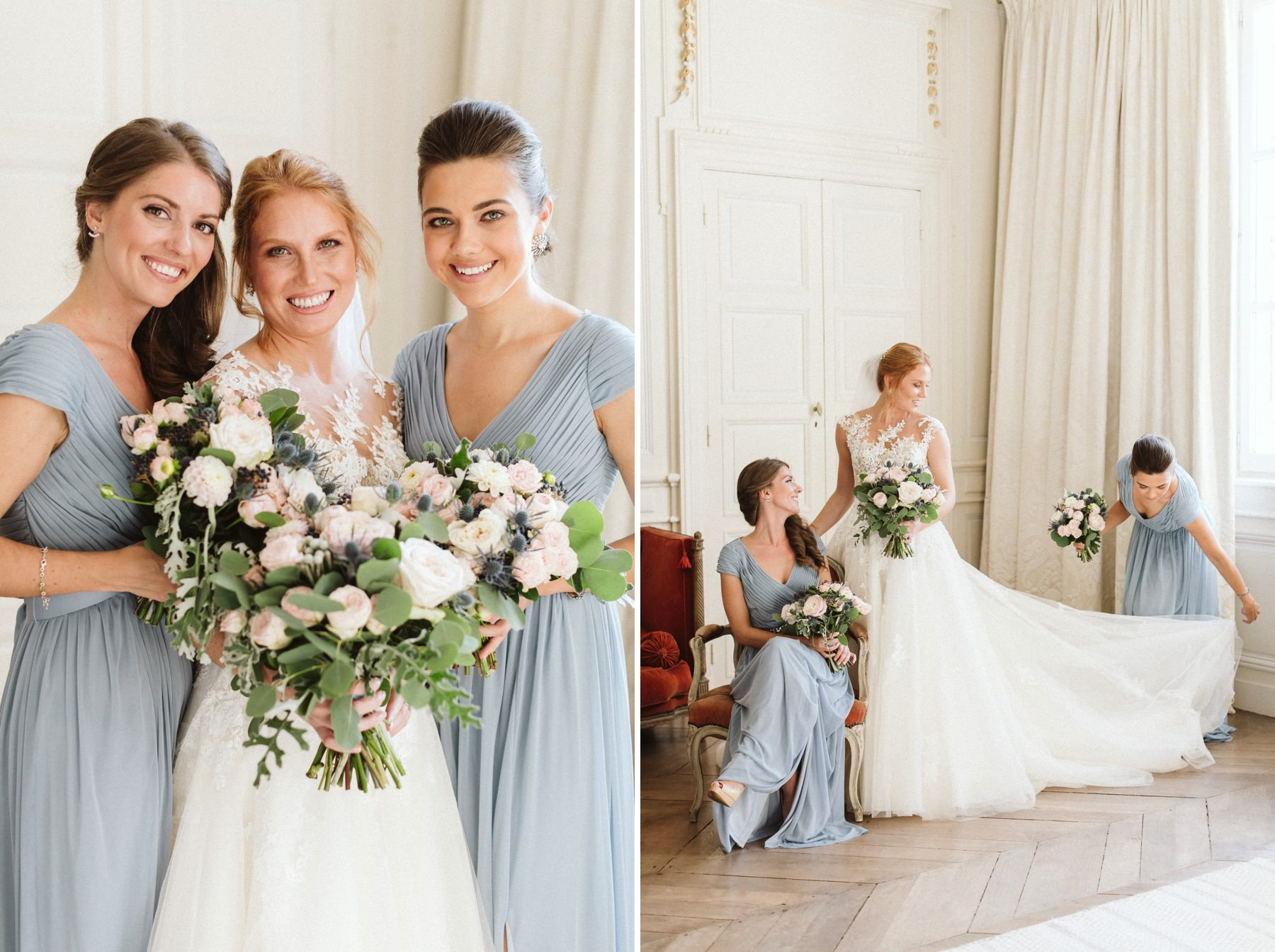 bridesmaids at wedding in France