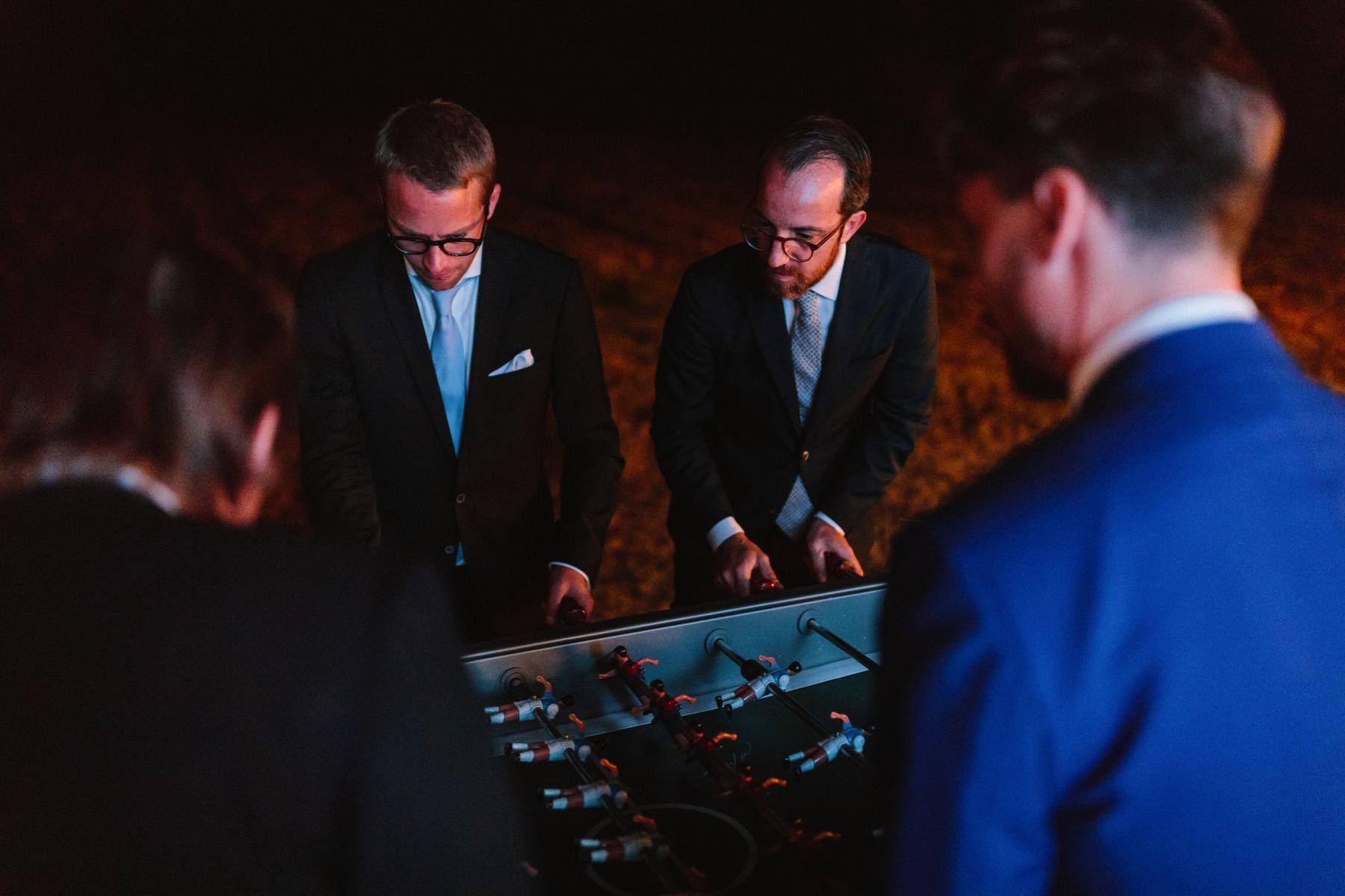 foosball game at wedding