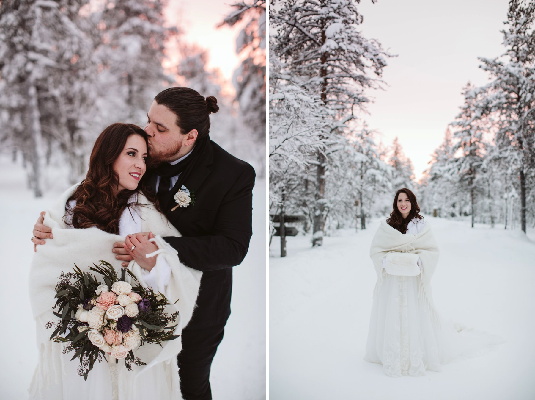 prewedding portraits in Lapland