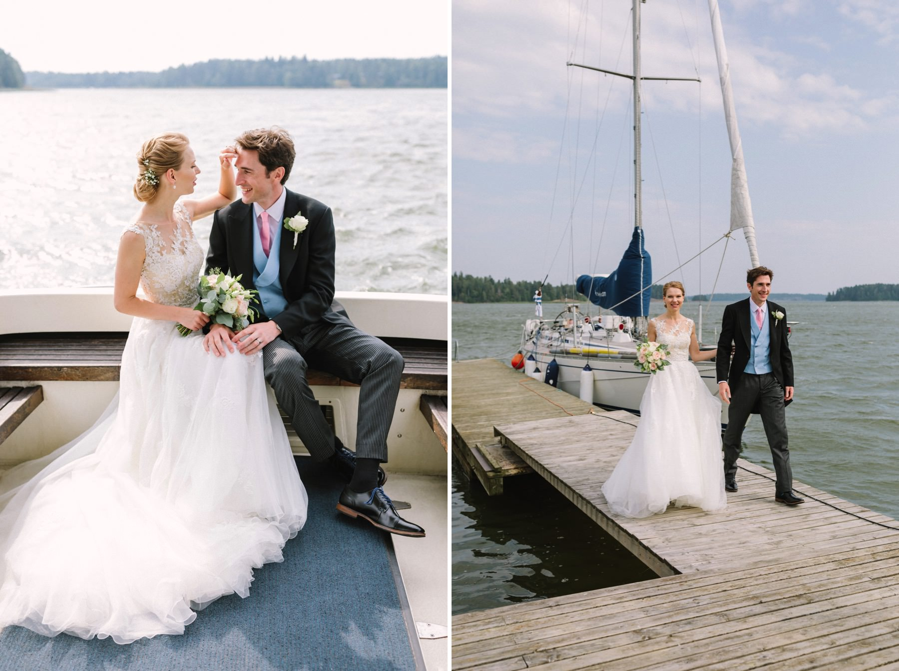 wedding couple arriving by boat