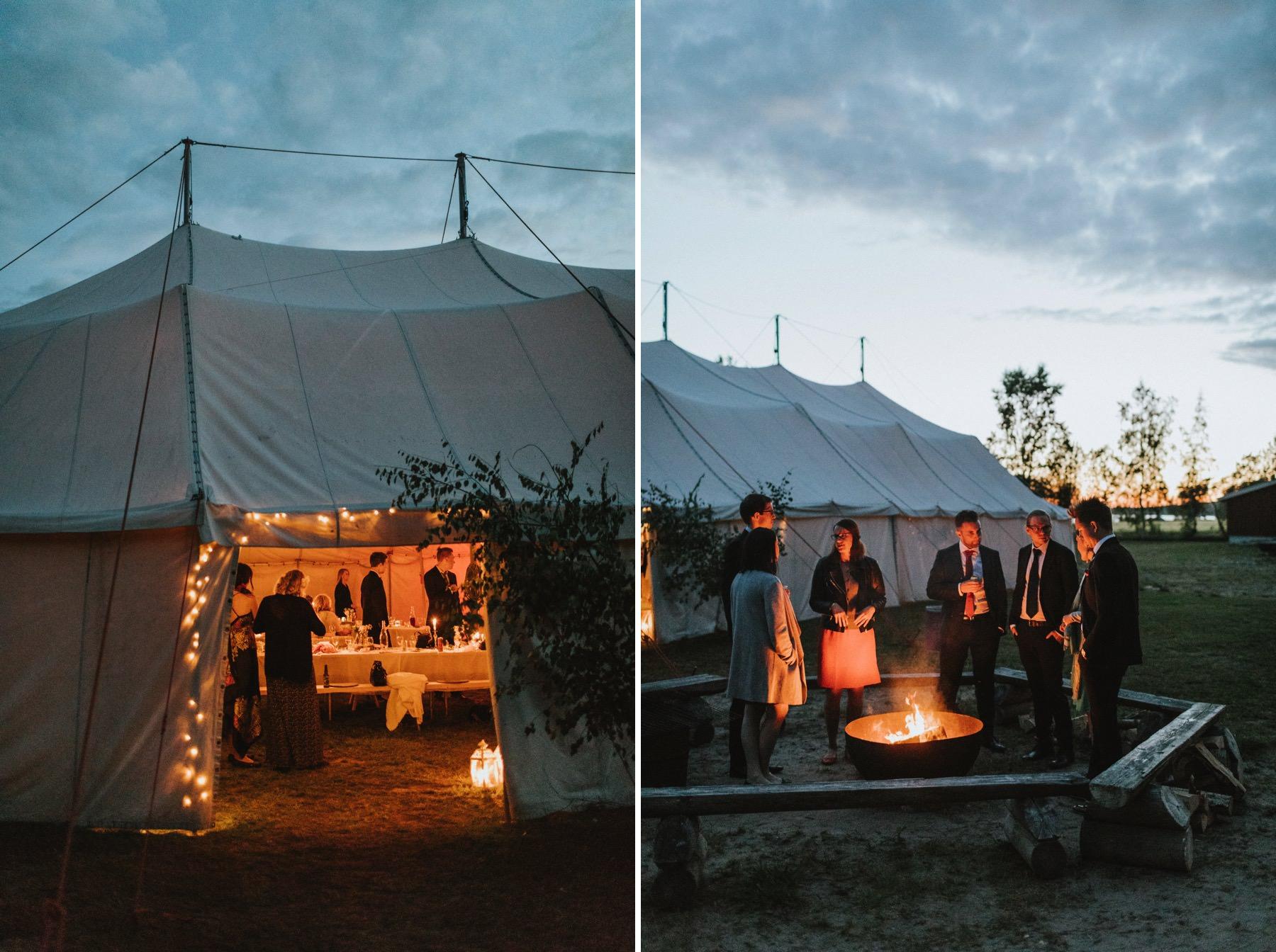 häät teltassa