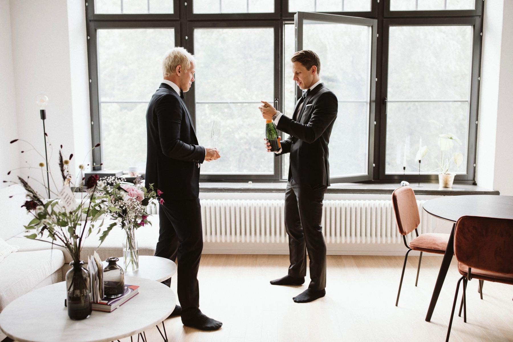 Swedish groom getting ready