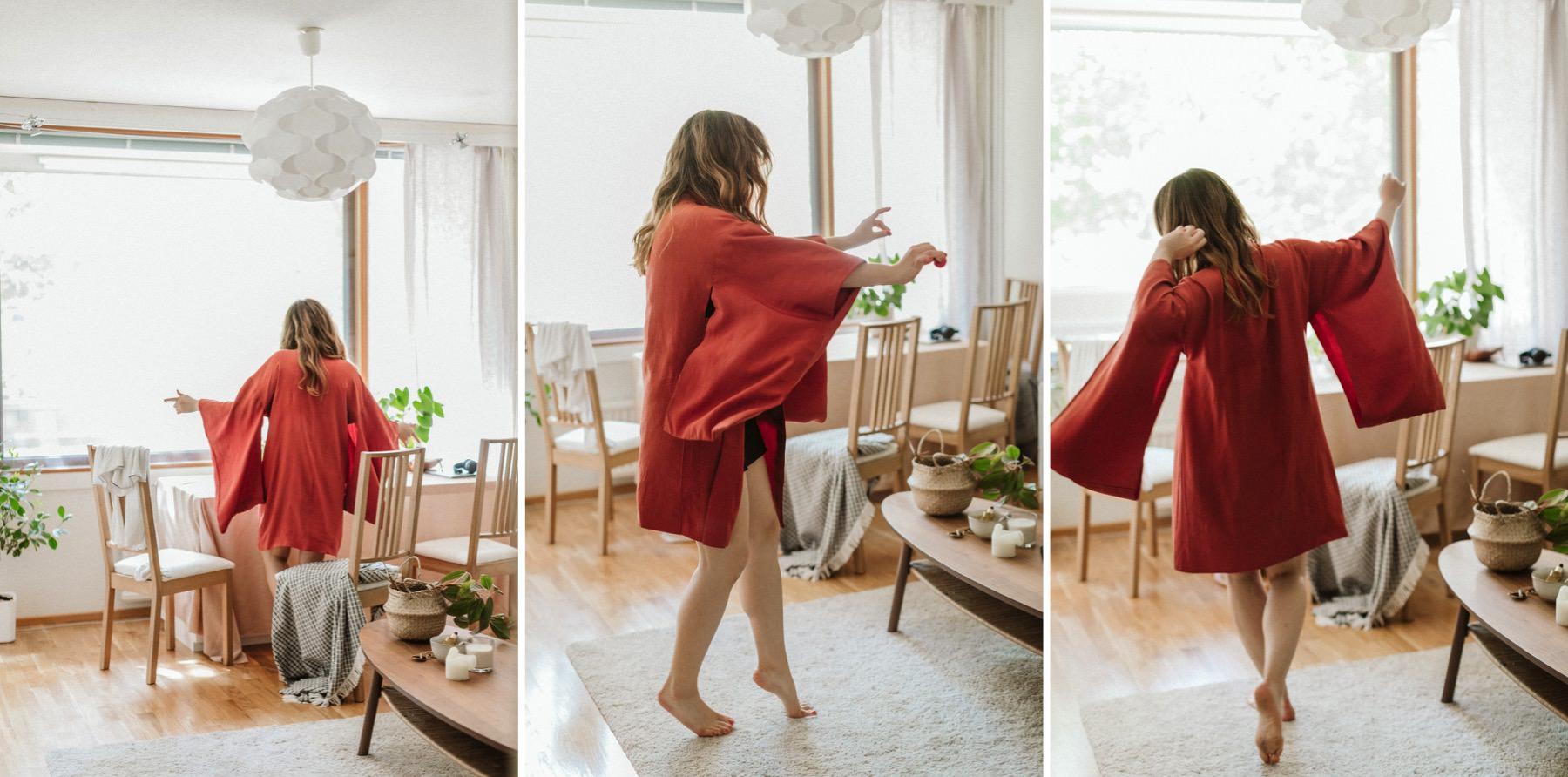dancing in a red kimono