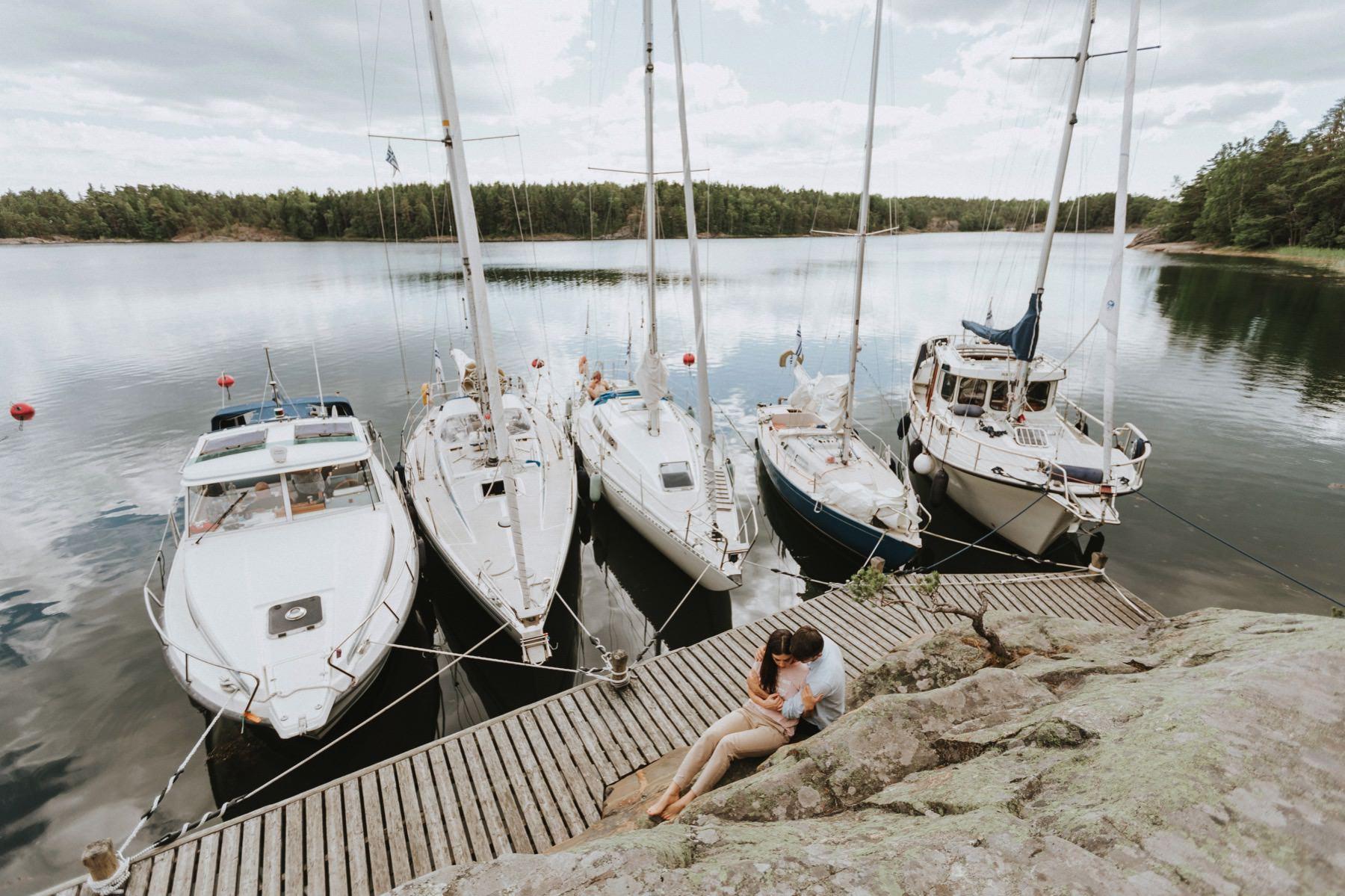 sailboat couple session Archipelago Sea