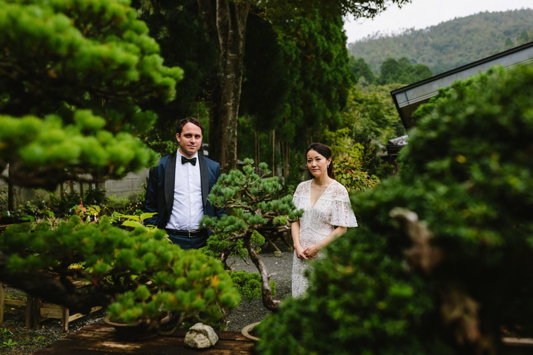 wedding photography Kyoto bonsai garden