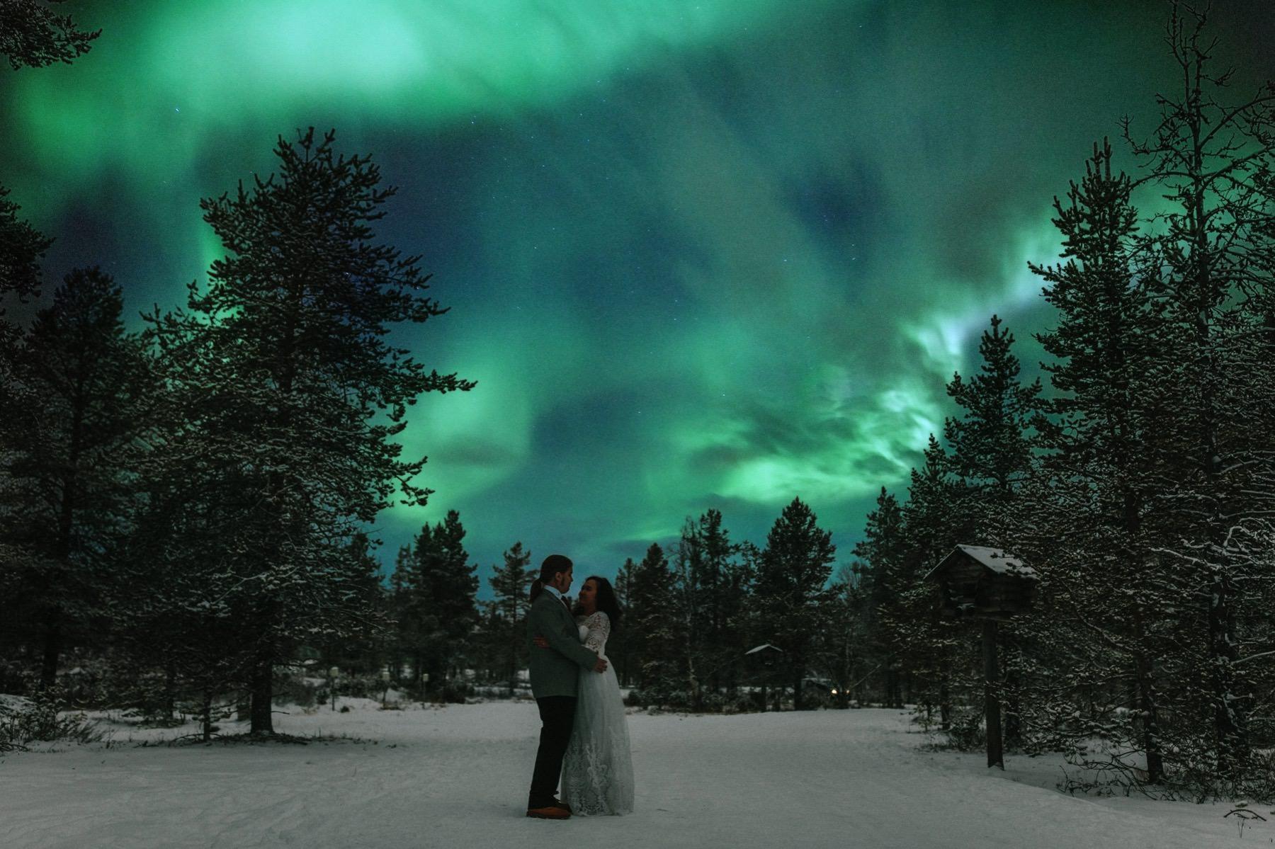 Lapland aurora borealis pre wedding